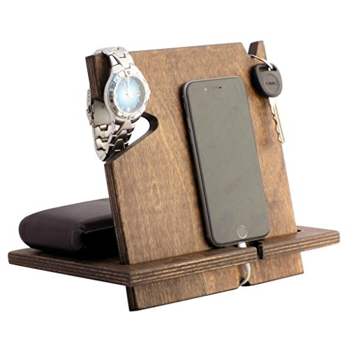 Wooden IPhone Docking Station Fathers Day Gifts For Him Graduation Gift Dad 5th Anniversary Works With ALL