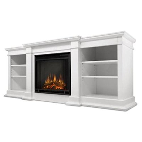 Real Flame G1200E-W Fresno Entertainment Unit with Electric Fireplace, Large, (White Fireplace Heater)