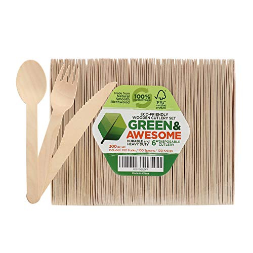 Disposable Wooden Cutlery Set - 300 pc,100 Forks, 100 Spoons, 100 Knives, 6