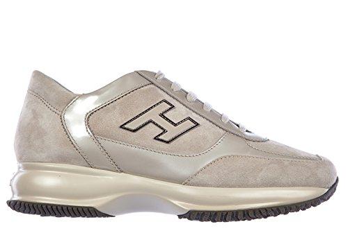Hogan scarpe sneakers donna camoscio nuove interactive h flock grigio