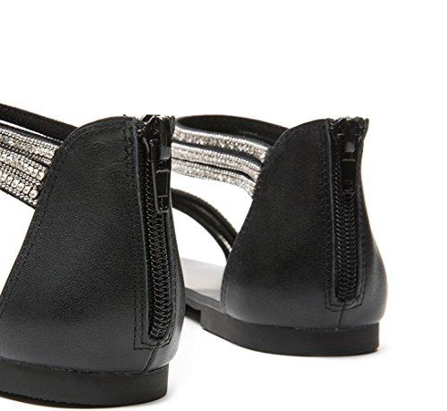 con Sandali Tacchi alla basso alti 39 casual Sandali tacco donna piatti a DHG da moda Sandali Nero basso Pantofole tacco estivi PXxdwTq4