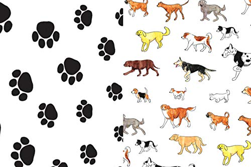 Dogs and Paw Prints Gift Wrap Tissue Paper for All Occasions. 24-Pack Includes 12 Sheets of Each Pattern. Large 20 x 30 Squares, Black, White, - Dogs Paw Spaniel Print