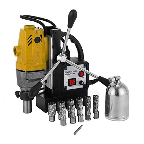 Mophorn MD40 Magnetic Drill 1100W Compact Electromagnetic Drill Press 12000N Traction 550 RPM Precise Cuts Tapping Magnetic Drilling System With Magnetic Drill Press 40mm + 11 pc Cutter Kit