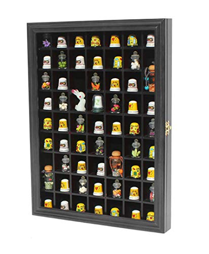 Wall Collectors Curio - 59-Opening Souvenir Thimble Small Miniature Display Case Cabinet Rack Holder, Glass Door, (Black)