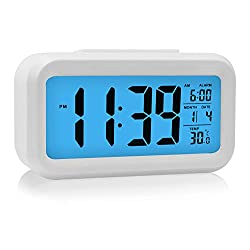 Digital Alarm Clock, HeQiao Smart Large LCD Snooze Electronic Alarm Clocks Battery Operated with Calendar Temperature for Home Office (White with Blue Night Light)