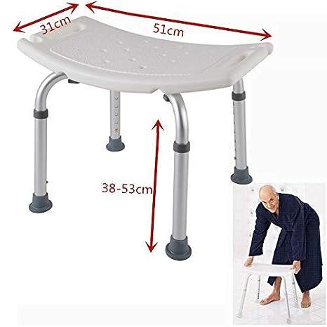 AUFUN Duschhocker mit Griffstangen Duschstuhl 38-53cm H/öhenverstellbar Duschhocker Anti-Rutsch Badsitz Duschhilfe Duschsitz aus Alu und Kunststoff f/ür Alter Schwangere aus
