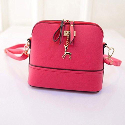 VIASA Messenger Leather Women Pink Shell Handbag Shopping Vintage Bags Small TSTqrwZ