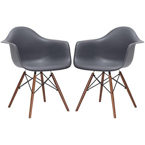 Poly and Bark Vortex Arm Chair Walnut Leg, Grey, Set of 2