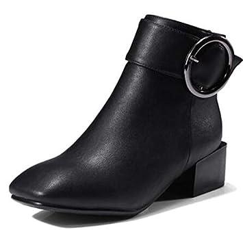 ZHZNVX Zapatos de Mujer Botas de Microfibra para Primavera y otoño Botines de tacón Grueso Tacones Cuadrados/Botines Negro/Gris / Rosa: Amazon.es: Deportes ...