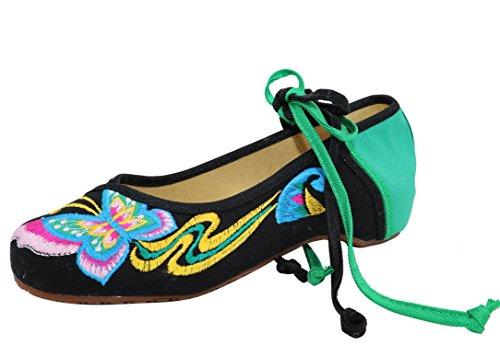 Ballerine Ricamato Etnica In Merletta Donna Calzature Scarpe A Icegrey Nero Su Mano Caviglia Slip On WSRE4awY