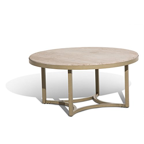 Travertine Top Coffee Table (Michael Amini FS-ALTA204 Alta Round Cocktail Table with Travertine Marble Top)