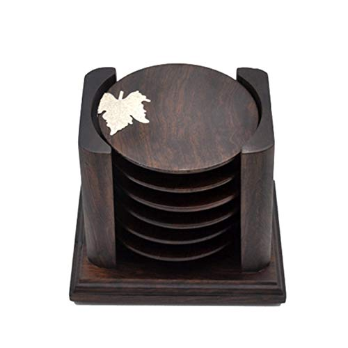 Retro Solid Wood Black Sandalwood Tea Cup Cushion Set, Maple Leaf Version for home (Color : Color1) by TTDY