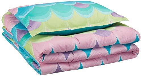 AmazonBasics Easy-Wash Microfiber Kids Comforter and Pillow Sham Set - Twin, Blue Scallop