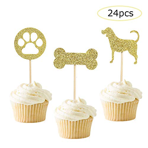 24 Pcs Dog Cupcake Toppers Gold Puppy Cupcake Toppers Decoration Supplies for Pet Theme Birthday Party]()