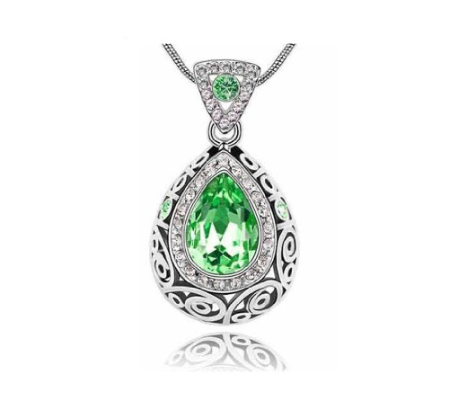 KATGI Fashion Austrian Crystal Angel Teardrop Pendant Necklace Austrian Crystal Angel Necklace