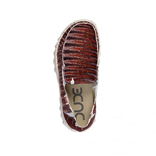 Stampa Mulo Dude Shoes su Uomo Scivolare Farty Rosso Rosso wE0dvr0x