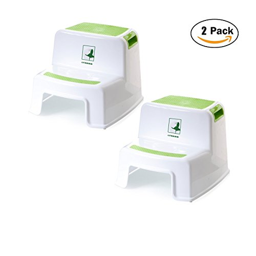 Childs Step - Toddler Step Stool - Two Step Stool for Kids washstand step stool for kids Toddler's Stool for Potty Training step stool and nursery step stools Use in the Bathroom or Kitchen (2 pack Green)