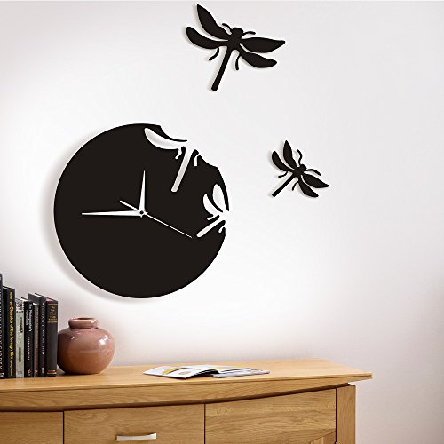 3 Animal Wall Clock - The Geeky Days Dragonflies Wall Clock Abstract Animals 3D Dragonflies Hanging Wall Watch Art Dragonflies Flew Away Nature Home Decor Bridesmaid Gift
