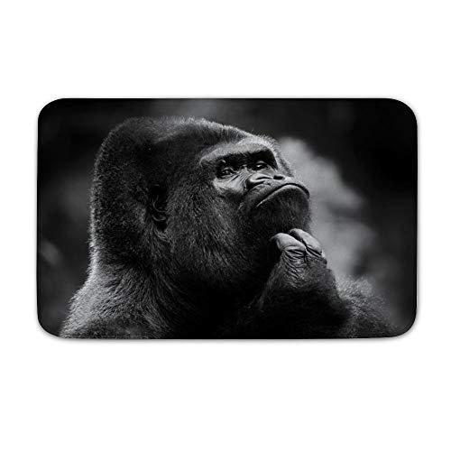 Welkoom Large Front Door Mat Endangered Species Black Gorilla Non Slip Home Floor Entrance Doormat Indoor/Outdoor (20, 32)