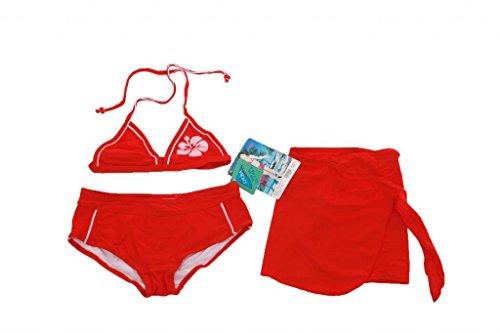 Rosa - 3 teiliges Mädchen Bikini mit Blumen Druck - Badeshorts, Triangel Oberteil und Strandrock - Rot - Gr. 100-116 (6 Jahre)