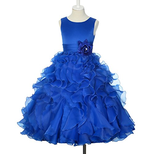 Dressy Daisy Girls' Satin Organza Ruffle Flower Girl Dresses Pageant Gown Party Occasion Dress Size 12 Royal Blue