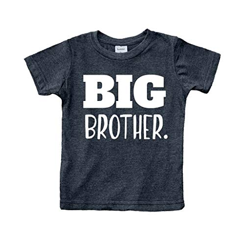 Big Brother Shirt for Toddler Promoted to Best Big Brother Announcement Baby Boys (Charcoal Black, 12m)