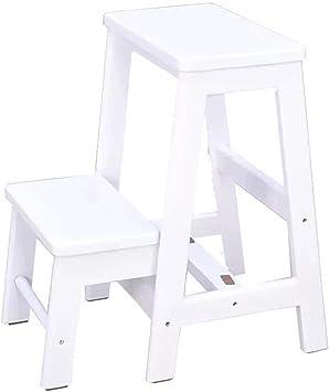BOC Taburete 2 en 1, escalera plegable de madera de 2 pasos, taburete plegable, cocina de baño, escalera de dos escalones, pedal antideslizante, fácil de guardar, 3 colores,Blanco: Amazon.es: Bricolaje y herramientas