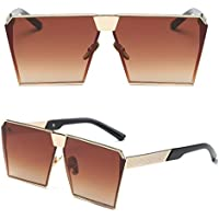 niceskin Retro Oversized Mirrored anteojos de sol Shades para las mujeres, resina y metal