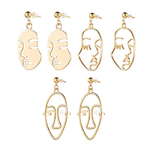 Earrings Picasso (Face Abstract Gold Statement Earrings - Mookoo 3 Pair Vintage Hypoallergenic Dangle Stud for Girls Teens Women)