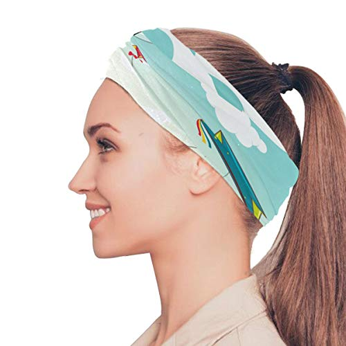 Clipart Kite - Gednix Colorful Kite Flying in Sky Elastic Headbands Head Wrap Shawl Sports Sweatband Face Mask Magic Scarf Hair Accessories Bands Ties for Women Men Girls Running Workout Fitness Yoga