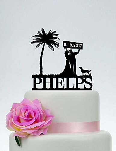 Wedding-Cake-Toppers-Bride-and-Groom-Custom-Wedding-Date-Beach-Theme-Wedding-Cake-Toppers-Palm-Tree-with-DogPersonalized-Last-Name-Wedding-Cake-Toppers