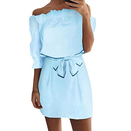 Half Sleeve Dress for Women High Waist Wave Point Fashion Ladies Casual Evening Party Long A-Line (XL, ()