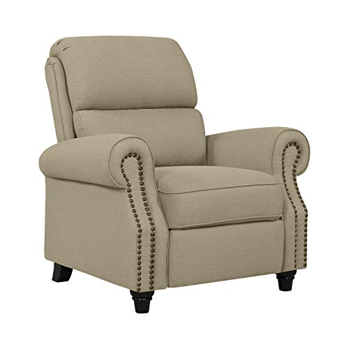 Domesis Cortez Push Back Recliner Chair in Barley Tan Linen (Dark Tan Linen)