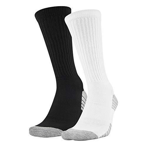 Under Armour Tech Crew Socks 2 Pairs, Black/White Assorted, Medium