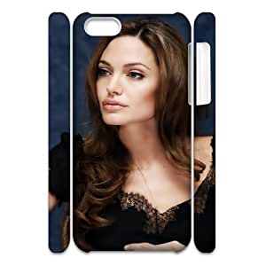 2015 popular 3D Bloomingbluerose Angelina Jolie Beautiful IPhone 5C Cases, Shock Absorbing Iphone 5c Cases Fashionable {White}