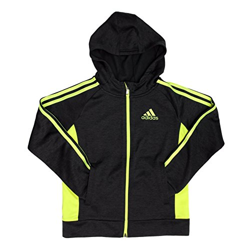 adidas Active Full Zip Hooded Track Jacket for Boys (Black/Yellow, (Fleece Boys Zip Hooded Jacket)