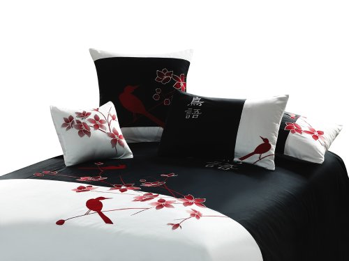 "King size black and white 3 piece Duvet Cover Set, coverlet comforter 106""x92"" 2 Pillows 20""x36"". Asian inspired decorative design featuring red birds and spring flowers"