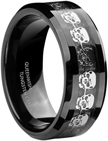 Queenwish 8mm Black Tungsten Carbide Rings Men's Silver Skull Skeleton Inlaid Band Size 6-13