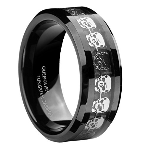 Queenwish 8mm Black Tungsten Carbide Rings Men's Silver Skull Skeleton Inlaid Band Size 11 (Homemade Christmas Costume Ideas Men)
