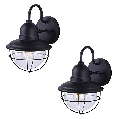 2 Pack of Exterior Outdoor Cage Light Vintage Bulb Fixture Sconce, Black Finish