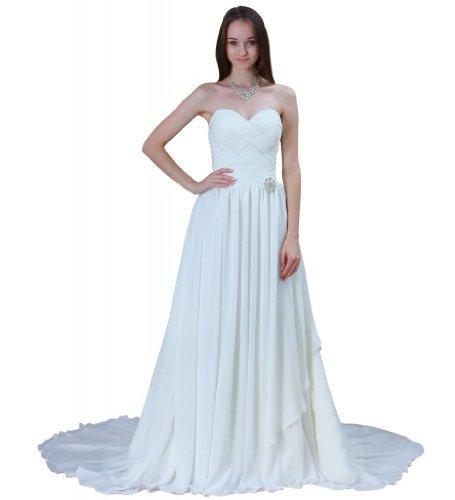Chiffon BRIDE Kapelle Hochzeitskleid Strand GEORGE Herz Schleppe Elfenbein Ausschnitt qBwfntxz