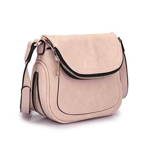MKY Lightweight Women Leather Saddle Bag Shoulder Crossbody Bag Travel Purse (Business Casual Saddlebag)