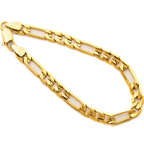 (Lifetime Jewelry Figaro Bracelet 7MM 24K Thick Gold Plated Wrist Chain for Men or Women Comes in Pouch for Gift Giving - 7 Inches )