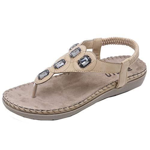 Women's Bohemia Elastic Strappy String Flip Flops Summer Beach T-Strap Flat Sandals Comfort Walking Shoes Khaki