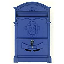 Doitb Mailbox European Style Outside Aluminum Wall Mount Post Box Secure Mailbox Letterbox Outdoor Retro Vintage Mailboxes (Royal Blue)