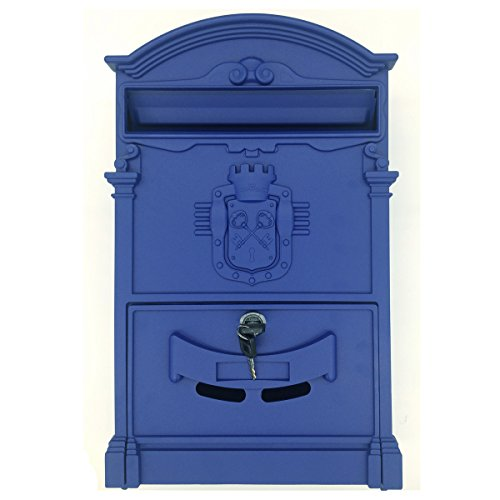 (Doitb Mailbox European Style Outside Aluminum Wall Mount Post Box Secure Mailbox Letterbox Outdoor Retro Vintage Mailboxes (Royal Blue))