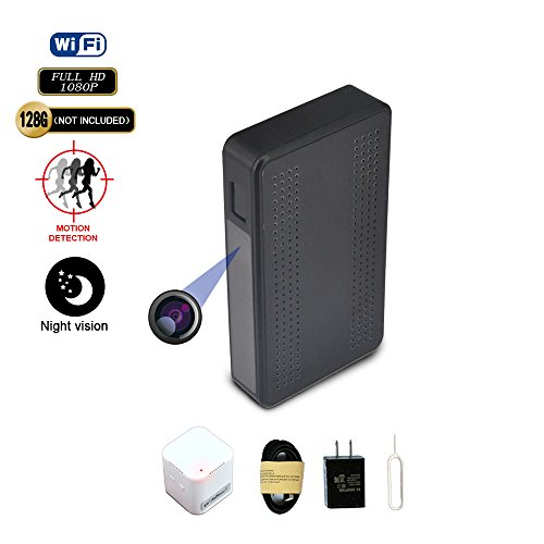 Fuvision WiFi Hidden Camera Black Box Design with 160 Degree FOV 365 Days Standby Battery Power 1080P FHD P2P Streaming Night Vision Motion Detection Hidden Spy IP Camera