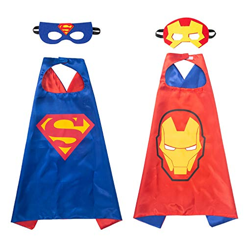 YOHEER Superhero Dress Up Costume Set, Double-Sided Satin Capes with Felt Masks for Kids, One Set Plays Double -