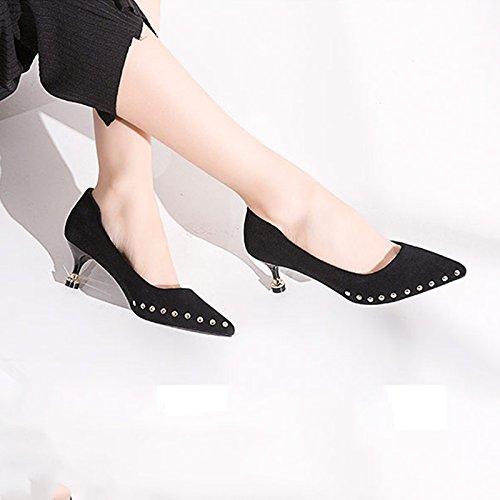 avec Et Lunettes Pointes des Hauts 5 Élégantes 5cm EU 38 des des US Chaussures UK Femmes Printemps Taille Black JIANXIN 24 Et Black JP 7 Été À Couleur Talons xOX8C7q