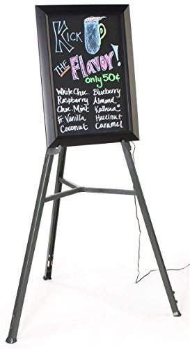 18 x 25-Inch Black Write-On Board With 13 Lighting Effects And Floor Standing Easel, Includes 8 Liquid Chalk Markers, Vertical Or Horizontal Format, 20-7/8 x 14-1/8-Inch Writing Surface, 35 x 62 x 32-Inch by Displays2go